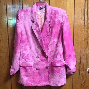 Custom bleach-dyed pink doublebreasted blazer